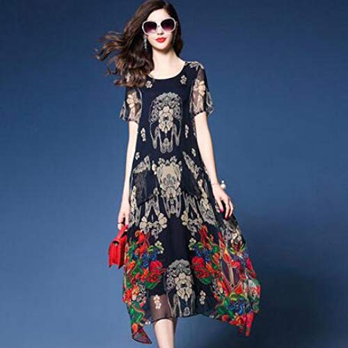 Wujiaba Blumendruck Langes Kleid Womens Kurzarm Seidenchiffon Kleid Sommer Hohe Qualität Lose Oansatz Kleidung,XXL