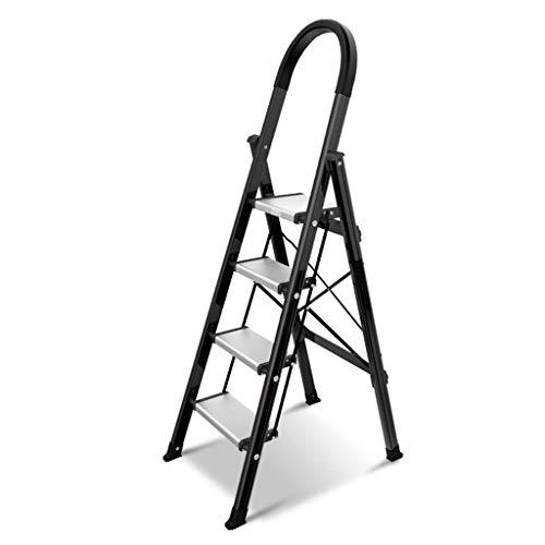 LRZLZY 4-Step-Leiter aus Aluminium, Heavy Duty Folding Stehleitern, Küchenleiter Hocker mit Anti-Rutsch-und Gummi-Handgriff, Zuhause/Küche/Garage Hocker
