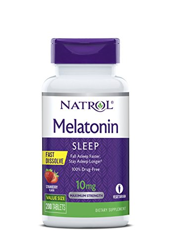 Natrol Melatonin Fast Dissolve Tablets, Helps You Fall Asleep Faster, Stay Asleep Longer, Easy to Take, Dissolves in Mouth, Faster Absorption, Maximum Strength, Strawberry Flavor, 10mg, 200 Count