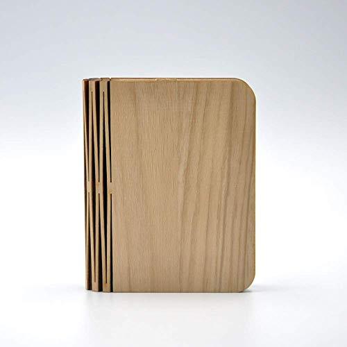 LLLKKK Lámpara de mesa de madera creativa con LED, diseño de libro, portátil, lámpara de mesa para dormitorio o noche, romántica, decoración interior, 350 lm, 500 mAh