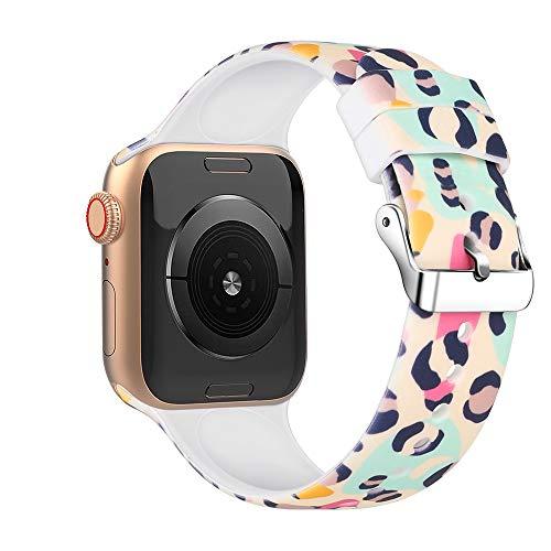 Correas de deporte de flores compatibles con Apple Watch 38 mm 42 mm 40 mm 44 mm bandas de repuesto con suave patrón de silicona para IWatch 5/4/3/2/1 DE81026 (42 mm/44 mm, #18)