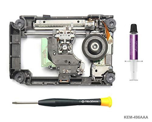 PS4 Blu-ray Laser mit Schiene KEM-496AAA - Ersatz Laufwerk DVD Laser Lens Rahmen/Schlitten/Deck und KES-496 Optical Head für PS4 Slim CUH-20xx and PS4 Pro CUH-70xx, Torx T8 Security Schraubendreher