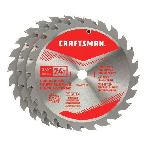 CRAFTSMAN 7-1/4-Inch Miter Saw Blade, 24-Tooth, 3-Pack (CMAS2725243)