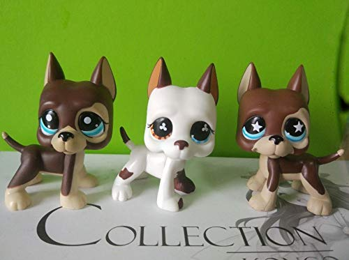 3pcs Littlest pet Shop Figure Brown & White Great dane Dog LPS#577#817