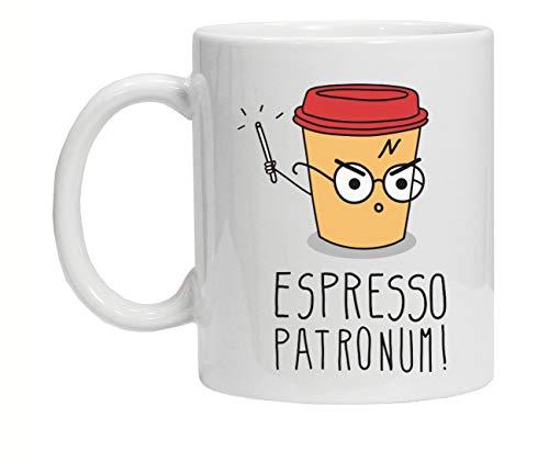 """Tazza perla colazione, con stampa """"Espresso Patronum"""" ispirata a Harry Potter"""