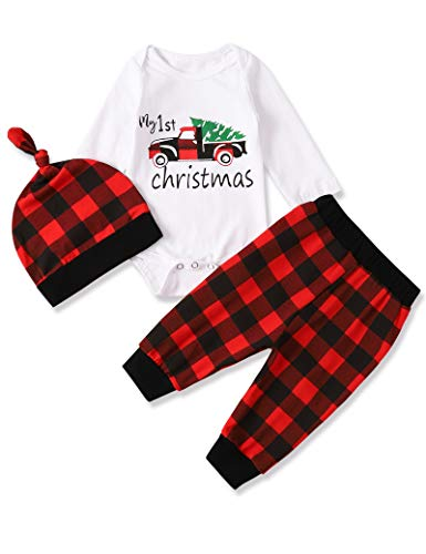 Newborn Baby Boy My First Christmas Red Plaid Clothes Long Sleeve Top Red Plaid Pant with Hat 3Pcs Outfit Set