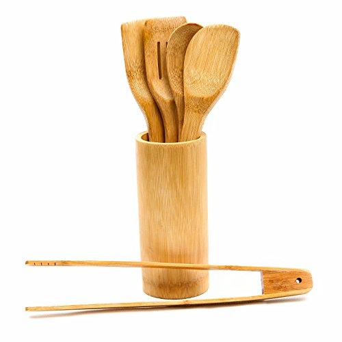 ARTECSIS 5 Ustensiles de Cuisine en Bambou avec Support de Rangement (1 Cuillère, 2 Spatules, 1 Écumoire et 1 Pince)