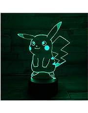 3D Nachtlampje Illusie Lamp Led verlichting Pikachu 7 Kleuren Afstandsbediening Touch Tafellamp Decoraties Verjaardagscadeaus voor Kids 3D Optische Illusie Lichten
