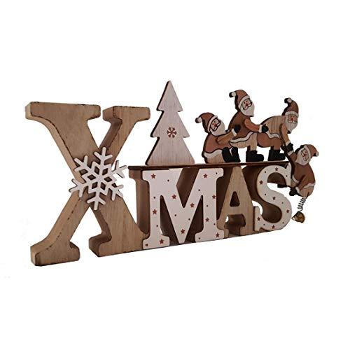 LB H&F Weihnachtsdeko Schriftzug Xmas Purzelnde Nikoläuse zum hinstellen Holz Holzaufsteller (Nikolaus)