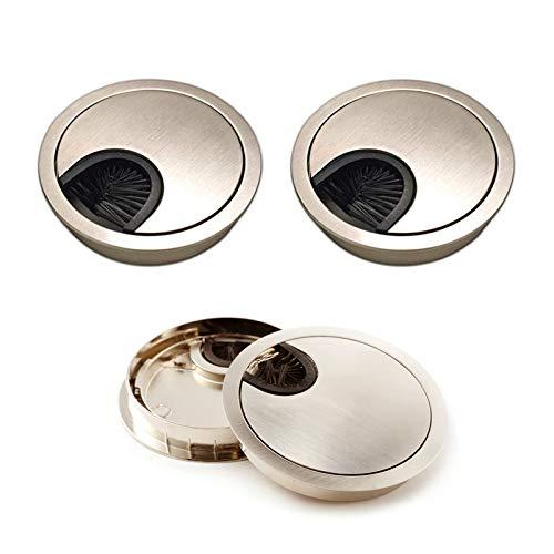 SoundZero 4 piezas Cubierta del Orificio del Cable, Arandela de Mesa de Aluminio, 60 mm Cubierta de Agujero de Mesa,Pasacables Escritorio Arandelas de Escritorio pasacables mesa oficina-Alta calidad
