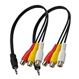 2 cables adaptador macho de 3,5 mm a 3 RCA hembra de 25 cm a conector RCA jack estéreo AV audio vídeo AUX adaptador de cable de conversión