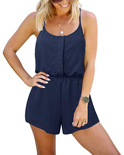 YOINS Tutina da donna senza maniche casual con zip frontale corta, pagliaccetto elastico in vita con tasche A~Navy XL