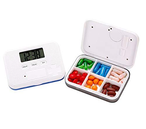 BrilliantDay Alarma digital Caja de pastillas Pastillero Electrónico Automático con Alarma con 6 compartimentos para actividades al aire libre, viajes#4