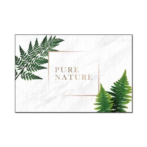 Brief tapijt Modern Wit marmer met groene bladeren tapijt Slaapkamer Antislip Wasbare karpetten Woonkamer Slaapkamer Vloermat Home Decor,40 * 60cm