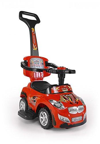 3 in 1 Girello Passeggino a forma di auto Auto per bambini Impugnatura a bastone estraibile Seduta ribaltabile, Color:Rosso