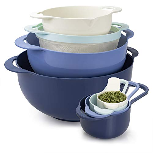 Cook With Color 8 Piece Nesting Bowls with Measuring Cups Colander and Sifter Set | Includes 2...