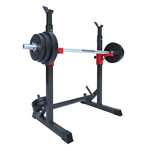 GJXJY Soportes Sentadilla, Barra Pesas Estante Rack Musculación Squat Rack Jaula Musculacion Bastidor Levantamiento Pesas, Carga 250 Kg, Altura Regulable