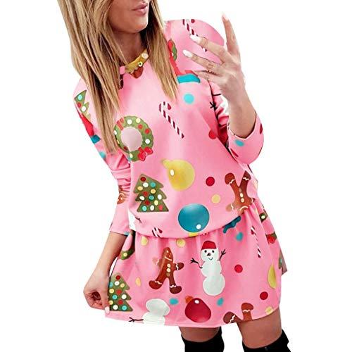 ZEELIY Robe de Noël Femme Fille, Robe Motif Flocon de Neige Manches Longues Swing Robe Mini Taille Haute Costume de Noël pour Cocktail Soirée Cadeau de Noël XA_Rose S