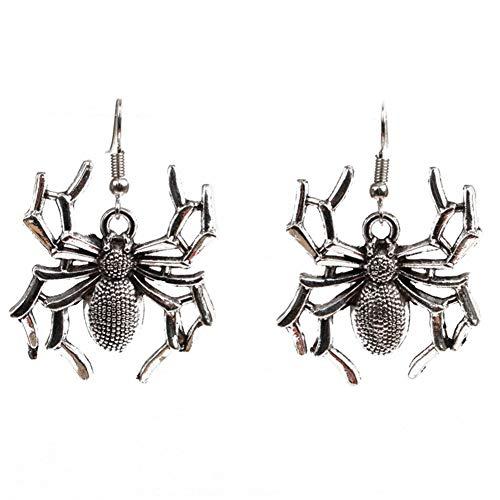 Qinlee Halloween Ohrringe Pfote Spinne Eule Ohrhänger Übertrieben Mode Ohrschmuck Bankette Festival Party Schmuck für Damen Mädchen 1paar (Silber Spinne)