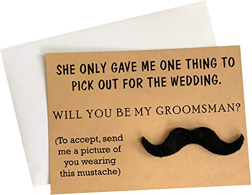 """Groomsmen Proposal Cards with Mustache - Set of 8 with Envelopes 5"""" x 7"""" 