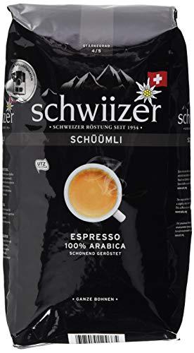 Schwiizer Schüümli Espresso Ganze Kaffeebohnen (4kg, Stärkegrad 4/5, Premium Arabica) 4er Pack x 1kg