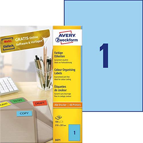 Avery 3470 - Etiquetas universales (210 x 297 mm, para todas las impresoras A4), 100 unidades, color azul