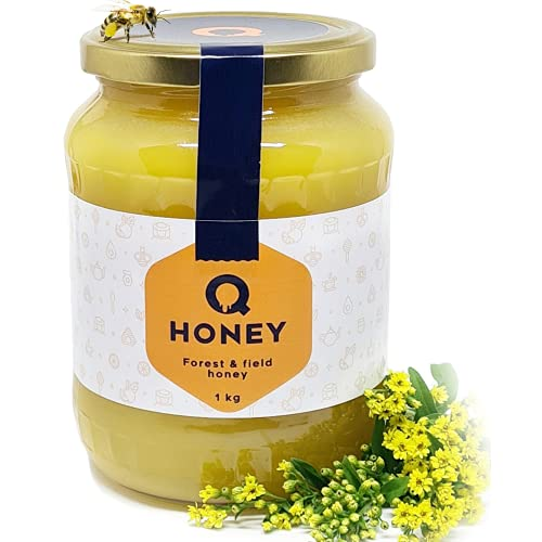 Q-Honey Miel de Abeja Pura, Miel Cruda, 100 % Miel Pura Natural Honey Sin Filtrar Sin Azúcar, Alta Concentración de Minerales 1kg Tarro de cristal