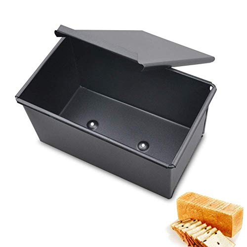 FGVBC Loaf Pan Bread Baking Mold with Lid, Iron Evenly Heat Toast Box Loaf Tin for Cake and Bread Toast Making for Kitchen, Bakinghouse, Hotel (500g Dough)