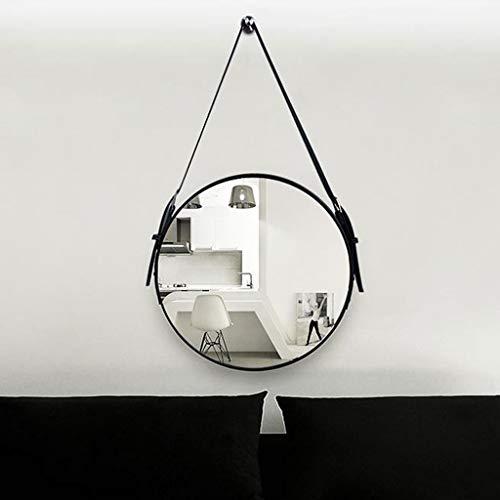 LYN wandspiegel, badkamerspiegel, ronde moderne badkamer leren band verstelbare hangband wandhouder slaapkamer cosmeticaspiegel