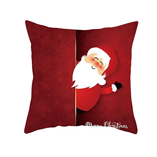 DIANDIAN Christmas Cushion Cover Creative Christmas Throw Pillow Case Cute Cartoon Santa Claus Party