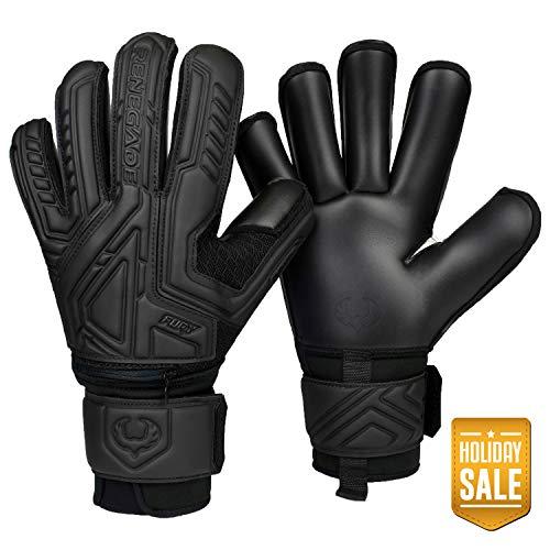 Renegade GK Fury Nightfall Roll Cut Level 4 Womens & Mens Goalie Gloves with Pro-Tek Fingersaves - Girls & Boys Goalie Gloves Soccer - Size 9 Goalie Gloves - Black Goalkeeper Gloves