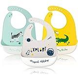 ZYUPHY Lätzchen Baby Silikon Wasserdichte Leicht Abwischbares Babylätzchen Antibakteriell und BPA-Frei mit Auffangschale und Druckknöpfen für Kleinkinder Mädchen und Jungen 3 Stück