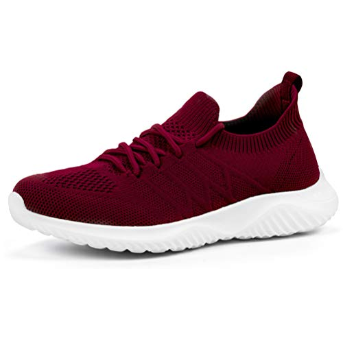 AKK Womens Sneakers Slip on Shoes Comfy Sock Tennis Work Non Slip Workout Running bagivy kuru granteva Shoe Wine Red Size 8