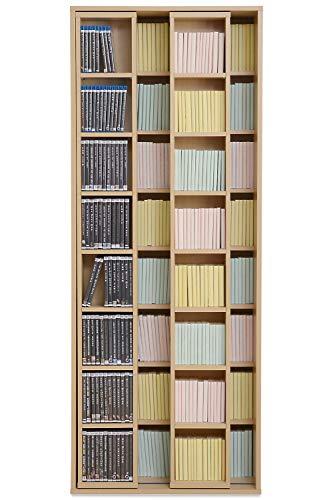 JKプラン本棚大容量スリムダブルスライドコミックDVD収納文庫本書棚ナチュラル奥深幅70高さ180MHV1012NA