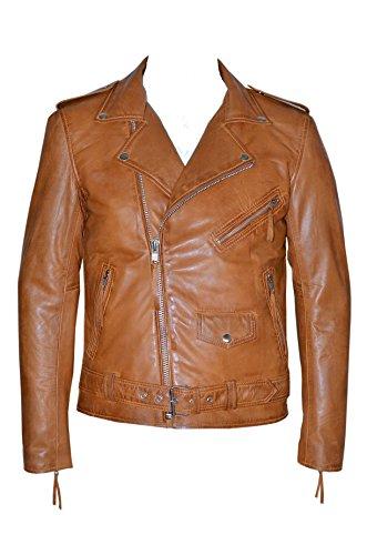 Smart Range Tan Designer équipée réel en cuir d'agneau Biker Jacket ' BRANDO SLIM FIT » (UK 3XL / EU 58)