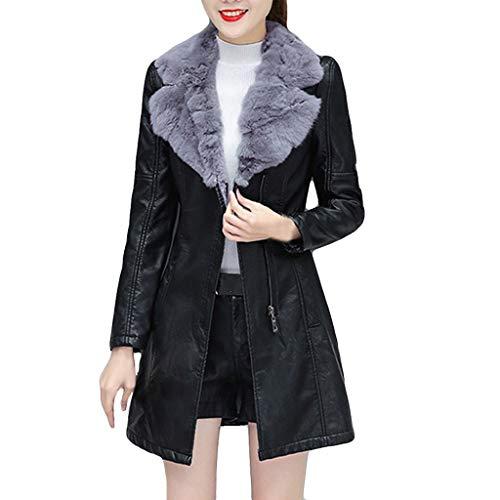 FRAUIT Lange Pelzkragen Lederjacke Damen Slim Winterjacke Fleece Gefütterte Revers Outwear Warm Mantel Casual Festlich Party Übergangsjacke Ladies Oberbekleidung