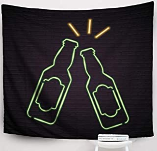 Crannel Beer Bottle Glass Neon Light Glowing Red Green Yellow Colour Bright Design Sign Tapestry 80x60 Inches Wall Art Tapestries Hanging for Dorm Room Living Home Decorative