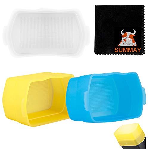GODOX Blitz Diffusor Flash Bounce Light Diffusor Dome Softbox Light Box Canon Nikon Sony Godox Blitz Speedlight (3er Pack - Weiß, Gelb, Blau)