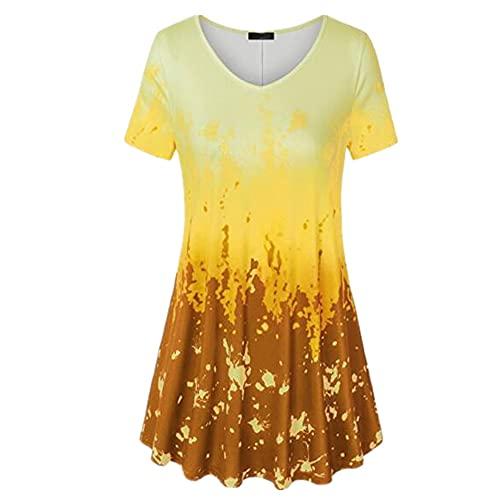 Camisa Mujer Top Mujer Cómodo Suelto Elegante Elegante Impreso con Cuello En V Manga Corta Verano Sexy Dulce Vacaciones Ocio Blusa Mujer Shirt G-Yellow L