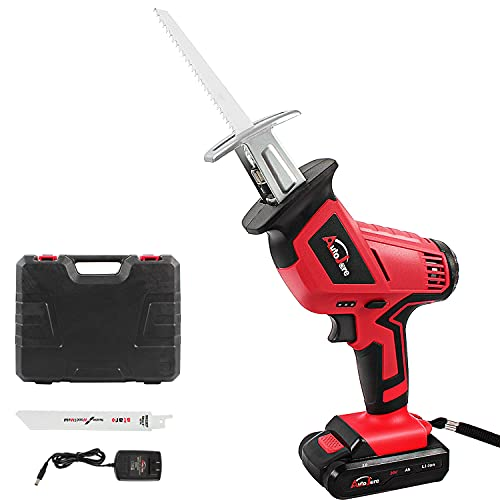 Cordless Reciprocating Saw Kit, AUTOJARE 18V/ 20V Max 2.0Ah Lithium-Ion Reciprocating Saw with Reciprocating Blade, Variable Speed, Battery,Fast Charger, Carrying case
