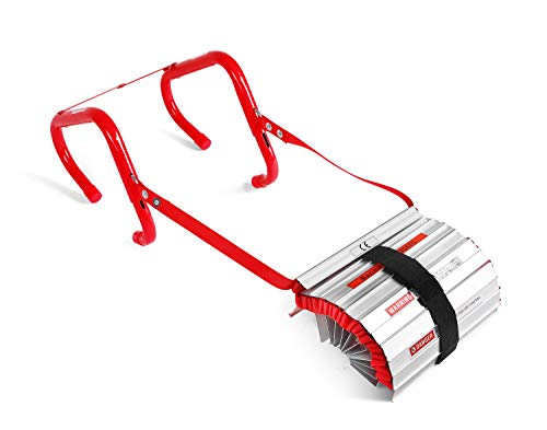 Emergency Fire Escape Ladder, Portable Ladder With Anti-Slip Rungs And Wide Steps V Center Support, Easy To Deploy & Easy To Store (3 Story - 25 Foot)