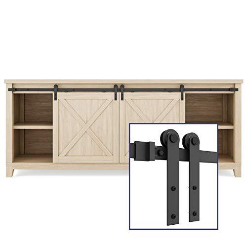 SMARTSTANDARD 6.6FT Super Mini Sliding Barn Door Hardware Track Kit -Smoothly and Quietly -For Double Opening Cabinet, TV Stand, Closet, Window -Fit 20'-26' Wide Door Panel-I Shape Hanger (NO Cabinet)