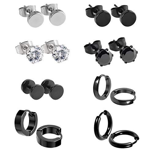 8 pares de pendientes de acero inoxidable con circonita cúbica para hombres y mujeres, tono plateado, calibre 18