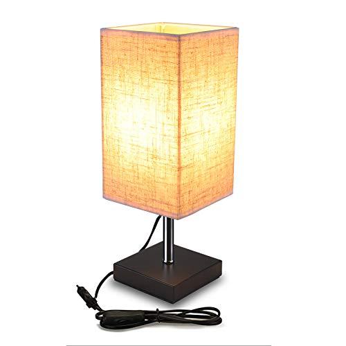 Lampop Lampada da Tavolo in Tessuto Lampada da comodino Moderna per Camera da Letto Minimalista per Tavolino da Caffè e Ufficio E27 LED (Senza Lampadina)