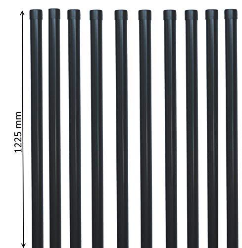 10 EXCOLO Zaunpfähle Zaunpfosten rund Metall Ø 34 mm 1225mm lang für 1m hohe Zaun-Anlage aus Schweiß-gitter-draht Drahtzaun Zaundraht in grau anthrazit RAL7016