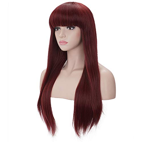Burgundy wig with bangs _image4