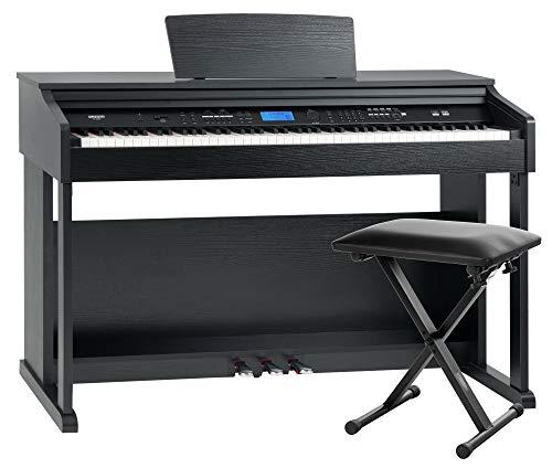 FunKey DP-2688A SM Digitalpiano Set - 88 anschlagsdynamische Tasten - Hammermechanik - 128-fach polyphon - 360 Sounds - 160 Styles - Spar-Set inkl. Keyboardbank - schwarz matt