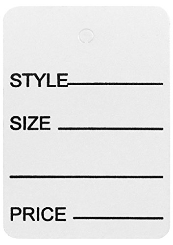 Amram Price Tags 1.75-in x 2.875-in Unstrung, White, Printed Style; Size; Price, 1,000 Tags