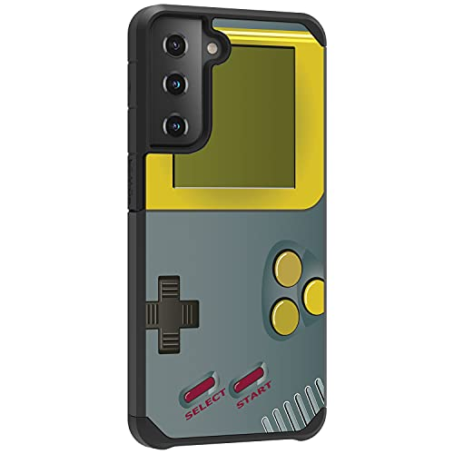 TurtleArmor | Compatible with Samsung Galaxy S21 Case (6.2) | G991 | Slim Hybrid Hard Shell TPU Dual Layer Case Cool Designs - Gray Gameboy