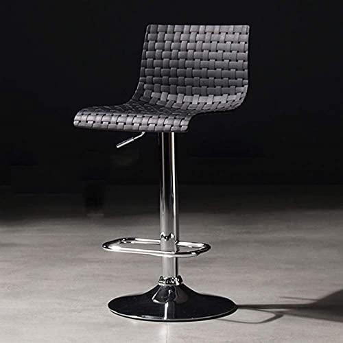 WWJ regulowany obrotowy stołek barowy blat kuchenny stołek z oparciem krzesło do pubu plastikowe siedzisko stołek barowy biały/szary/czarny wysokość 60-80cm